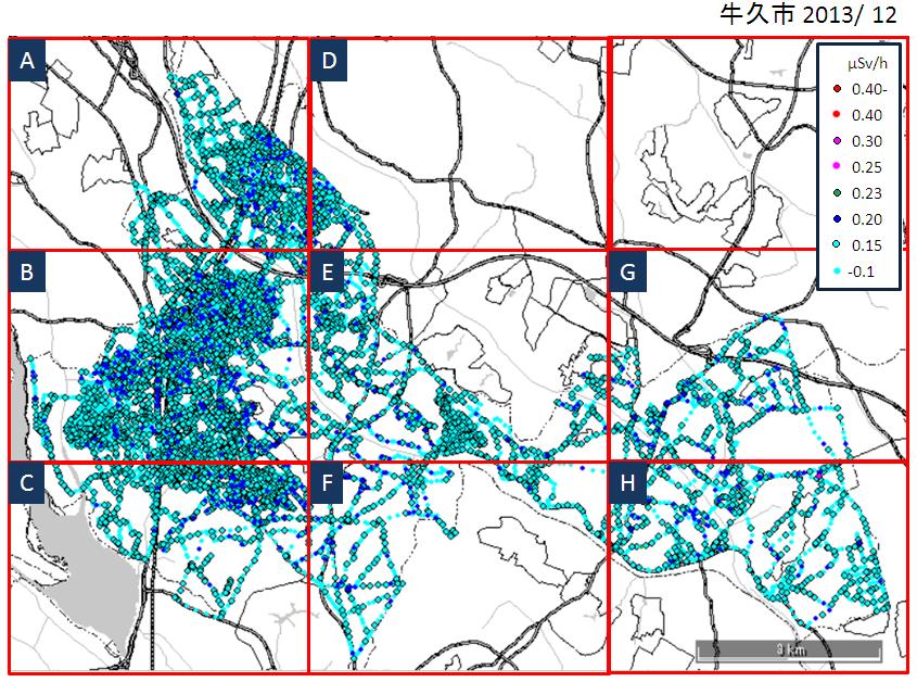 市内公道上の空間放射線量率測定結果(第4回)