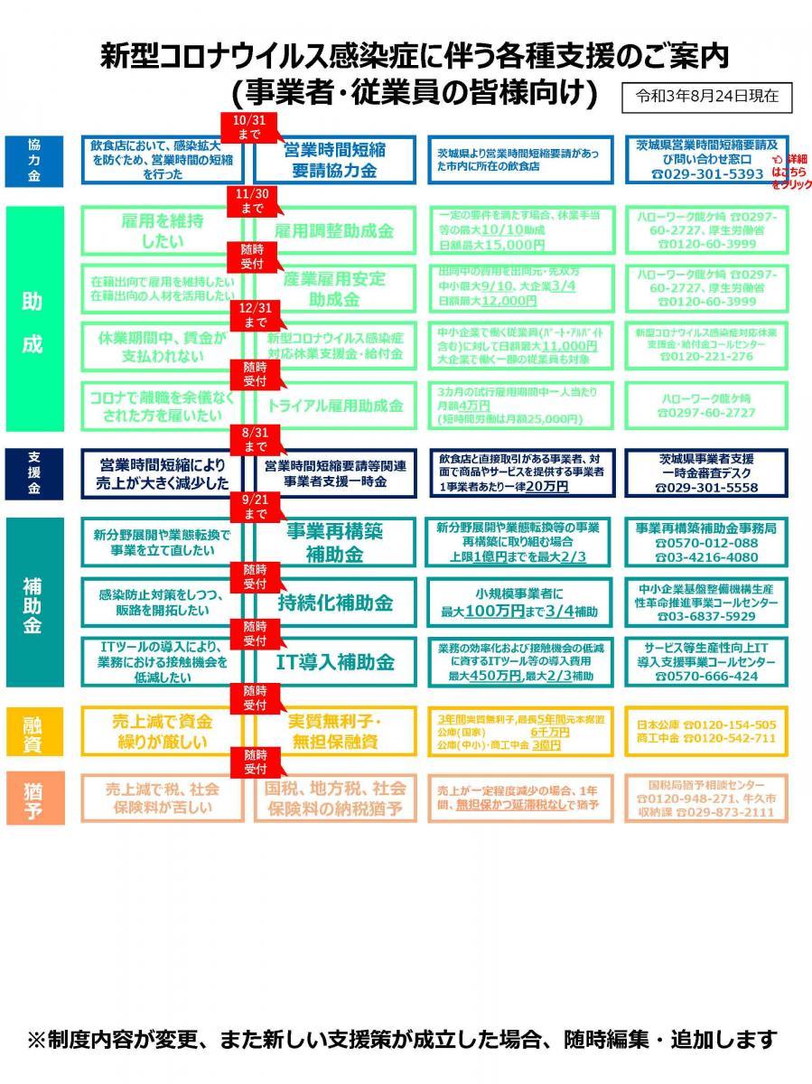 コロナウイルス法人向け支援策8月25日