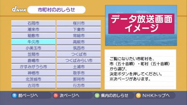 市町村のお知らせ データ放送画面イメージ